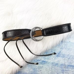 Brighton black leather belt with fringe end